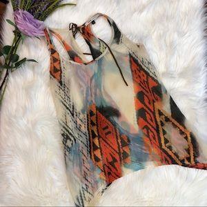 Bershka Sheer Boho Racerback Southwest Tribal Top